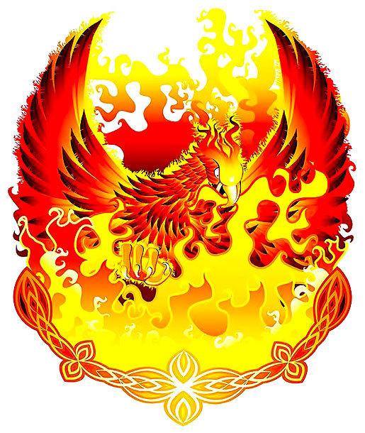 Phoenix In Fire Tattoo Design