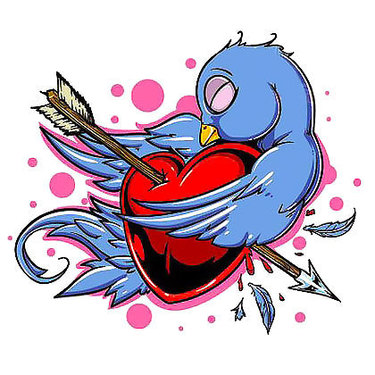 Pierced Heart Bluebird Tattoo