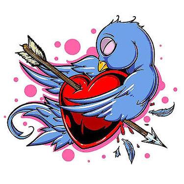 Pierced Heart Bluebird Tattoo