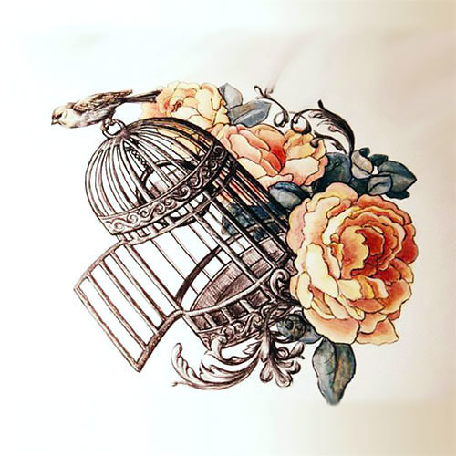 Pretty Birdcage Tattoo Design