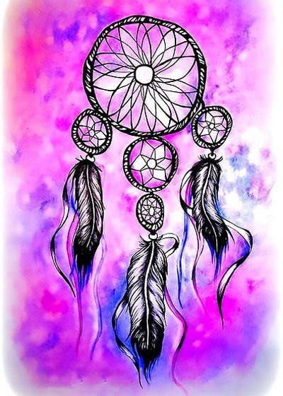 Purple Dreamcatcher Tattoo Design