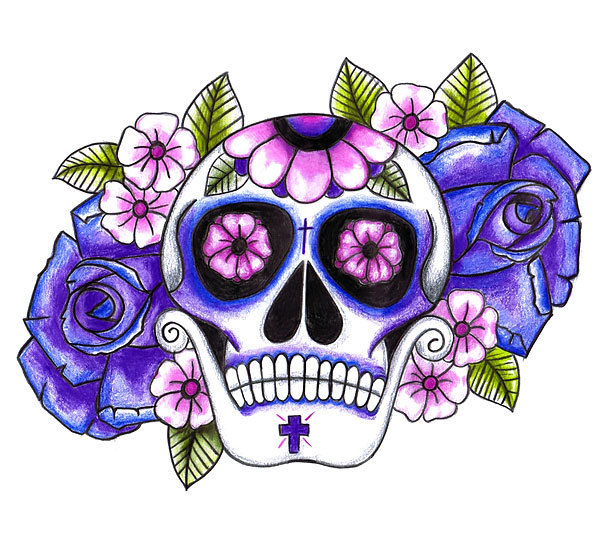 Purple Sugar Skull Tattoo Design