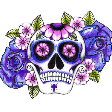 Purple Sugar Skull Tattoo
