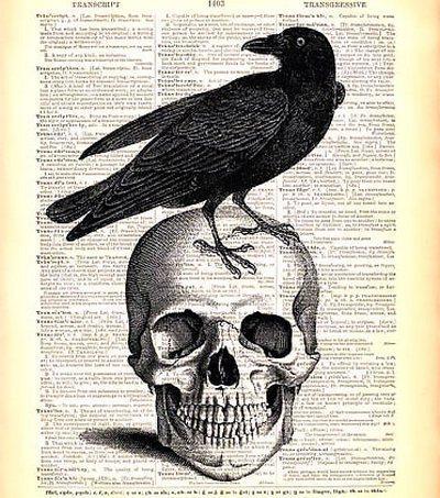 Raven on Skull Tattoo Design