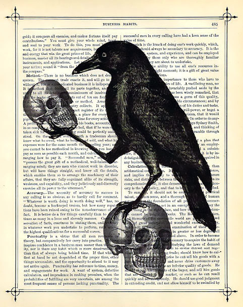 Raven With Two Skulls Tattoo Design