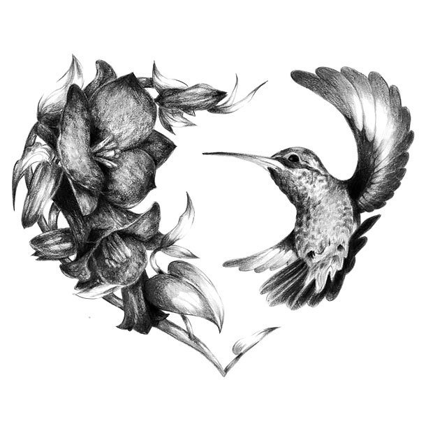 Realistic Hummingbird Heart Tattoo Design
