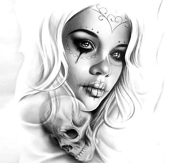 Realistic Muerte Girl Tattoo Design