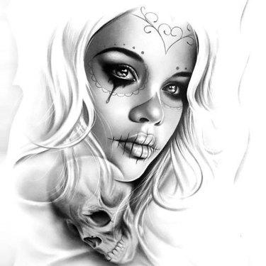 Realistic Muerte Girl Tattoo