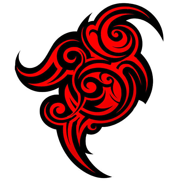 Red and Black Tribal Tattoo Design