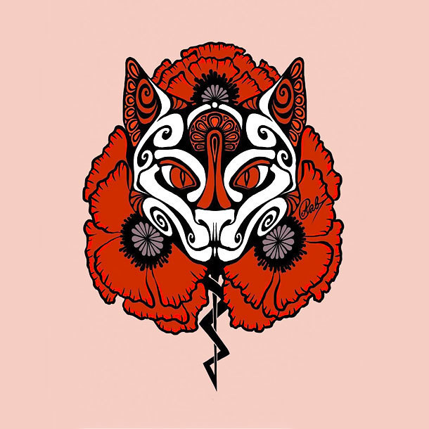 Red Cat Tattoo Design