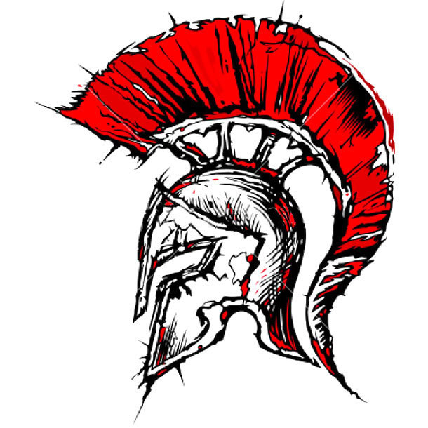 Red Spartan Helmet Tattoo Design