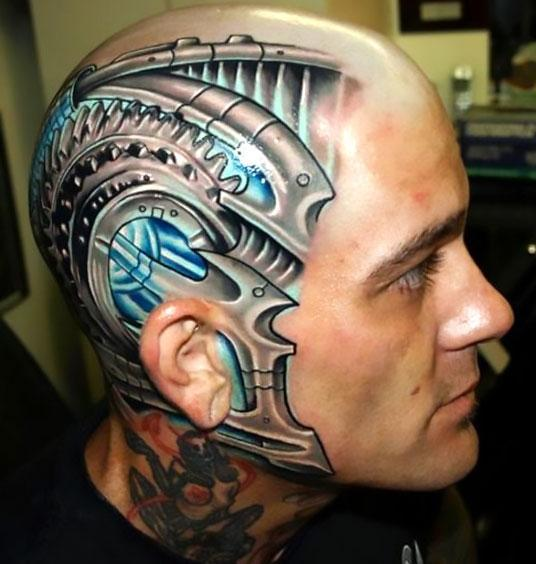 Biomechanical Head Tattoo Idea
