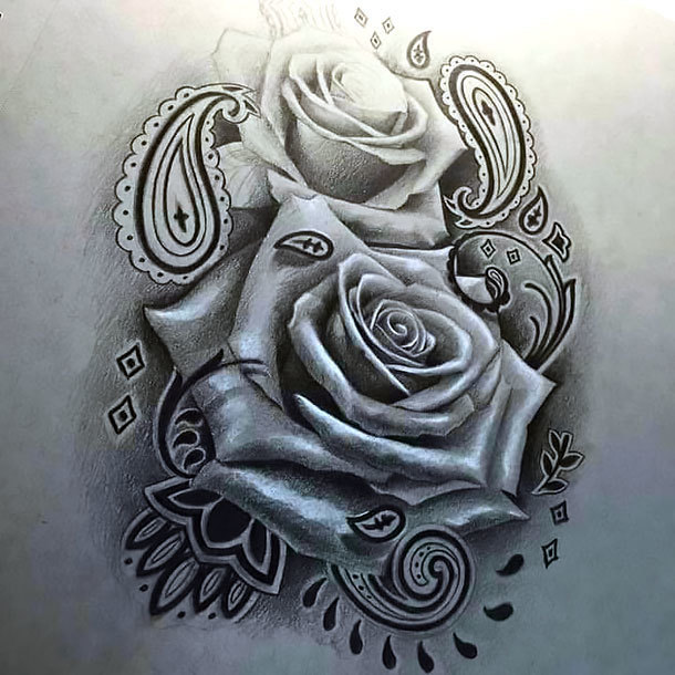 Rose Tattoo In Chicano Style Tattoo Design