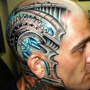 Biomechanical Head Tattoo