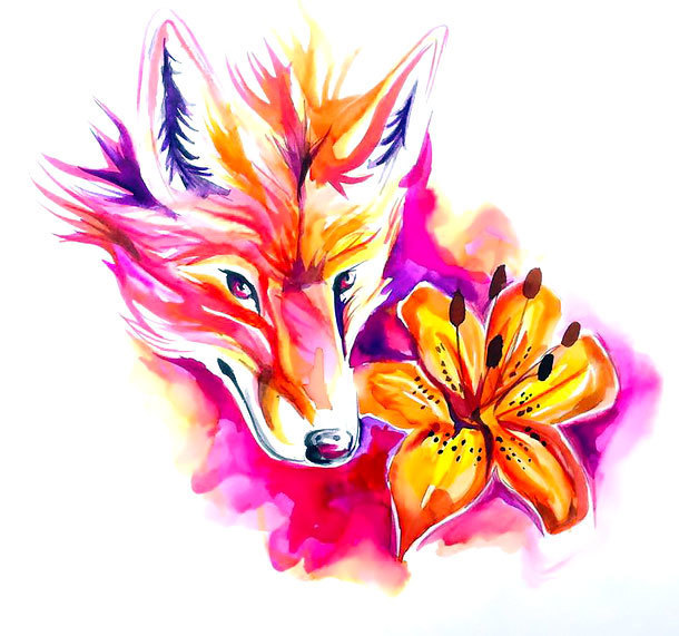 Sexy Watercolor Lily and Fox Tattoo Design