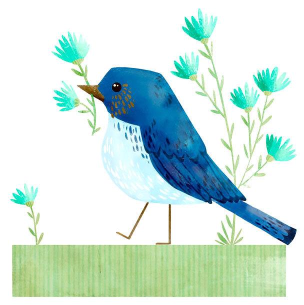 Simple Geometric Bluebird Tattoo Design