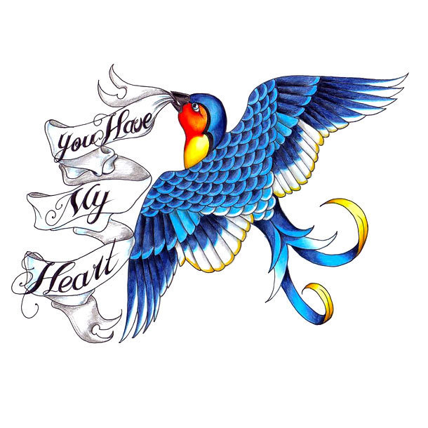 You Have My Heart Bluebird Tattoo Design