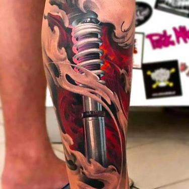 Biomechanical Lower Leg Tattoo