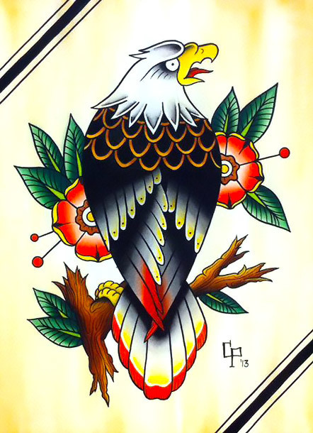 Old School Eagle Tattoo Design