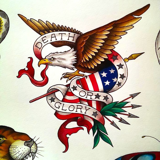 Traditional Eagle and American Flag Tattoo Design