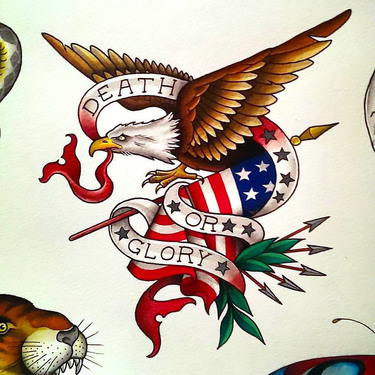 Traditional Eagle and American Flag Tattoo