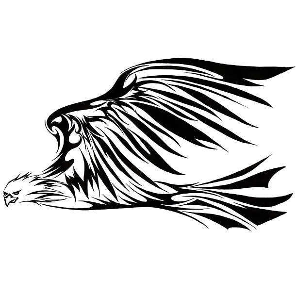 Tribal Eagle In Fly Tattoo Design
