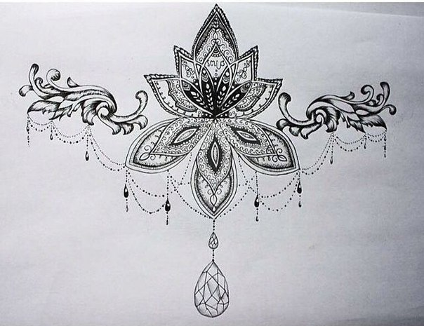 Beautiful Girly Chest Decoration  Tattoo Design