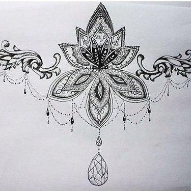Beautiful Girly Chest Decoration  Tattoo