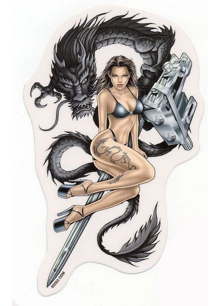 Hot Girl with Japanese Dragon Tattoo Design