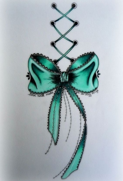 Sexy Green Bow  Tattoo Design