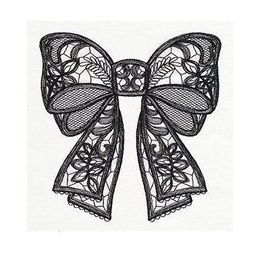 Black Lacy Bow Tattoo
