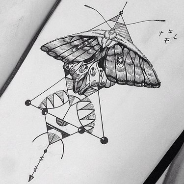 Black Moth for Girl's Chest Tattoo