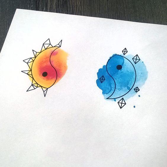 Yin Yang Twin  Tattoo Design