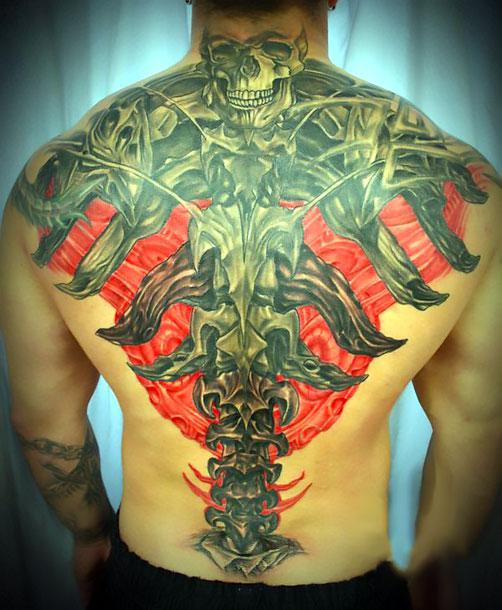 Biomech on Back Tattoo Idea