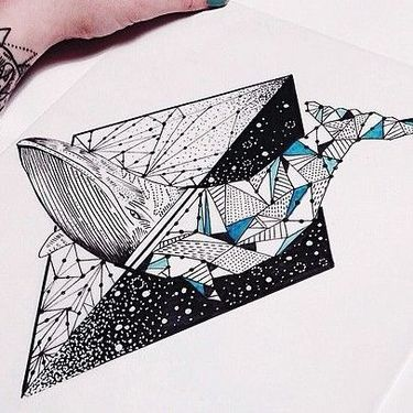 Gorgeous Geometric Matching Whale Tattoo