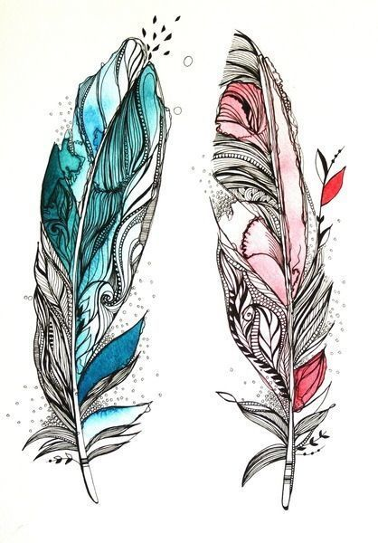Blue and Pink Feathers for Couples Tattoo Design