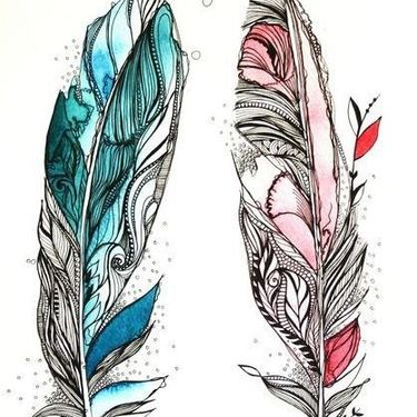 Blue and Pink Feathers for Couples Tattoo
