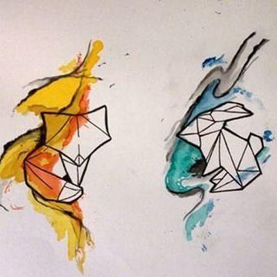 Fox and Rabbit Couples Tattoo Design
