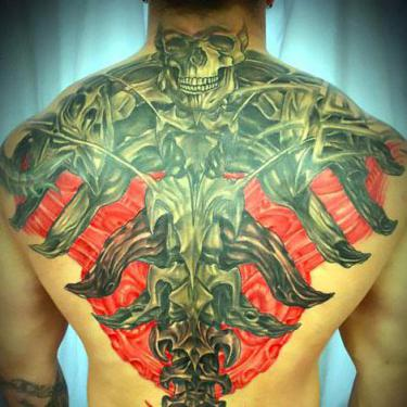 Biomech on Back Tattoo