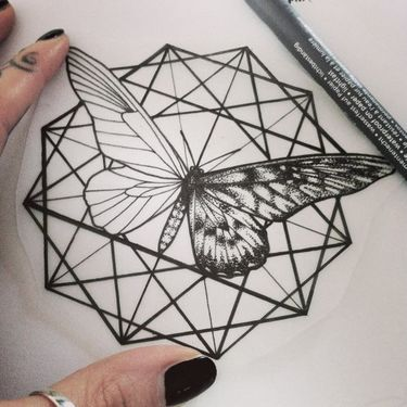 Black Geometric Matching Moth Tattoo