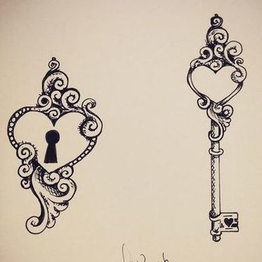 Couples Design of Locked Heart and Key Tattoo