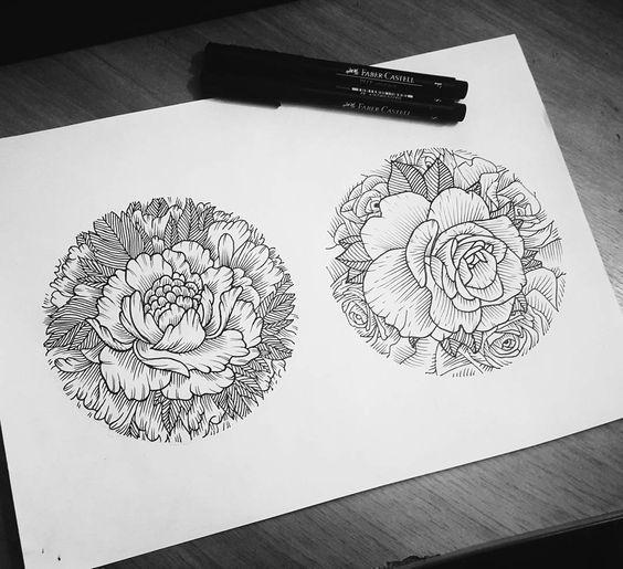Couple of Flowers Tattoo Design