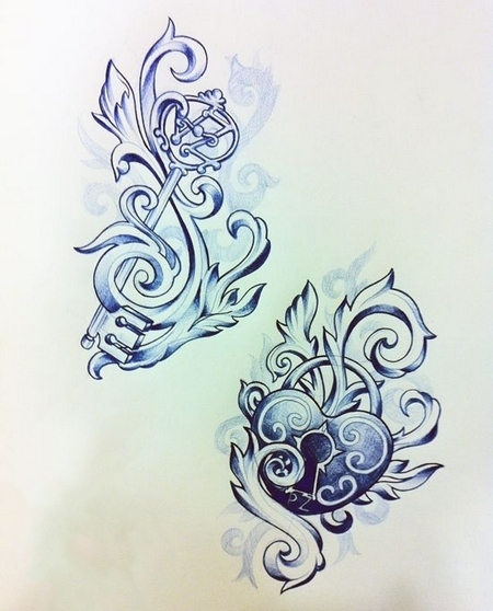 Key and Locked Heart Tattoo Design