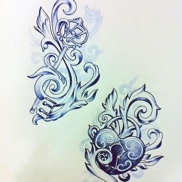Key and Locked Heart Tattoo