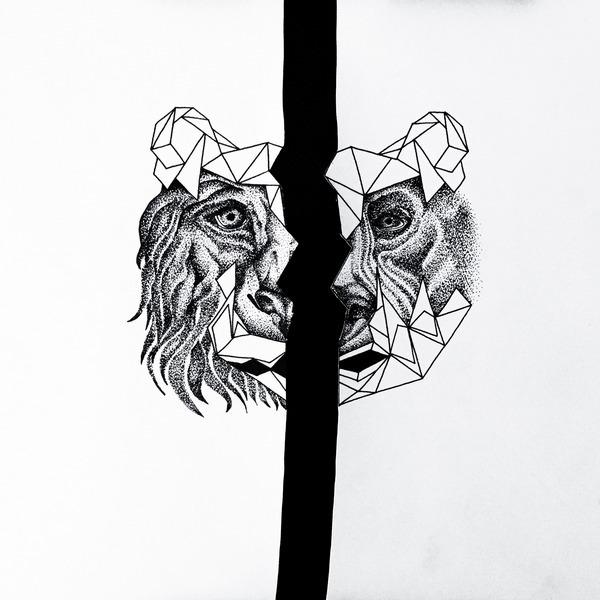 Half Head Bear and Lion Tattoo Design