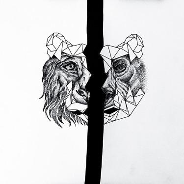 Half Head Bear and Lion Tattoo
