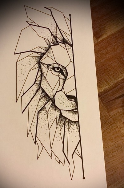 Half of the Lion Face Tattoo Design