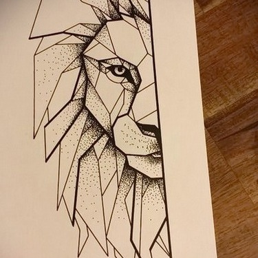 Half of the Lion Face Tattoo