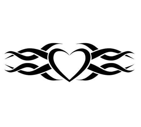 Tribal Heart Wedding Ring Tattoo Design