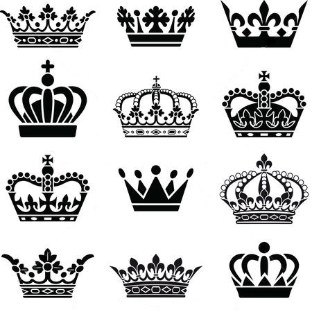 Queen and King Crowns Tattoo Design
